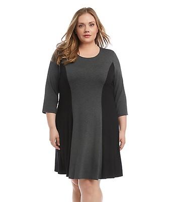 Plus Size Faux Suede Yoke Colorblock Dress