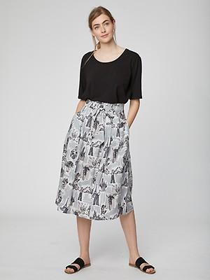 13e04447bd8351 Sandreen Paperbag Waist Midi Skirt Ocean Blue Modal