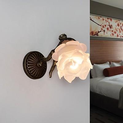Wandleuchte Lampe Glas Schirm Blüte Echt-Messing Bronze Antik Premium Handarbeit