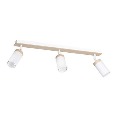 Wandlampe Strahler POLINA Holz Weiß rund Modern wohnlich Leuchte Spot GU10