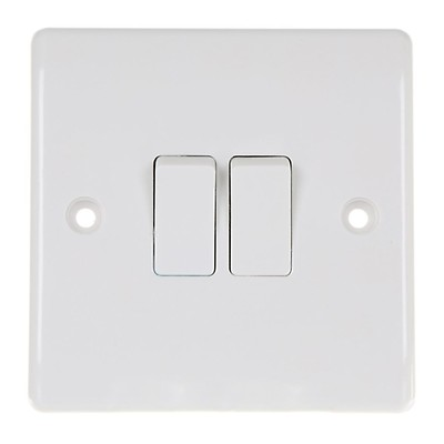 2 new boxed 2 gang 2 way switch matt black with sloping edge 10amp home of style