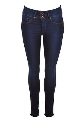 c7dfec2a29af09 Tiffosi Womens One Size Double Up Skinny Jeans, Dark Blue Denim