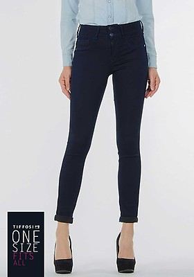 5e8ead73da317f Tiffosi Womens One Size Double Up Skinny Jeans, Navy