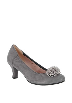 514daec53c2a5 Le Babe Suede Beaded Low Court Shoes, Grey