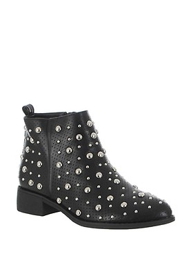 81e981e9 Zen Faux Leather Studded Ankle Boots, Black