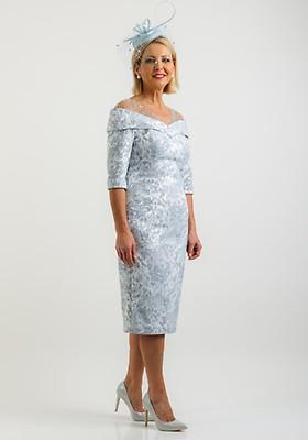 5eee478e48 John Charles Embroidered Jacquard Dress, Powder Blue