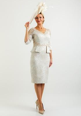 b06ffce867 John Charles Lace Trim Jacquard Dress, Champagne