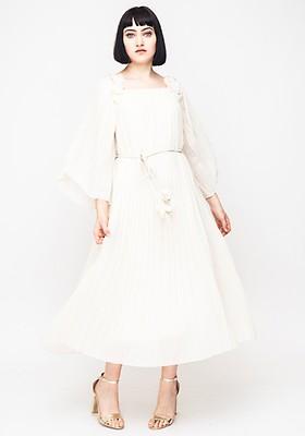 4fdef9e4c00f Seventy1 Lace Long Sleeve Midi Dress, Cream   McElhinneys