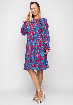 77367f6ab303 Seventy1 Lace Long Sleeve Midi Dress, Blue   McElhinneys