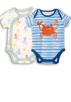 Little Wonders Infant Boys Blue /& White Striped Crab Romper Baby Outfit Bodysuit