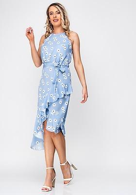 b2365a2491532 Seventy1 Leopard Satin Frill Asymmetric Dress, Brown | McElhinneys
