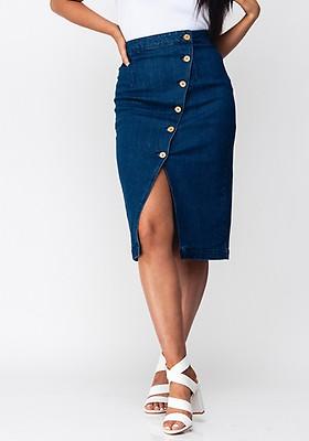 2812d328ca34b5 Vero Moda Julie Button Denim Skirt, Blue
