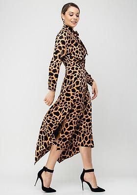 Seventy1 Animal Print Pussybow Long Dress, Pink | McElhinneys