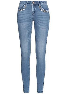 81cbded5241e2c ONLY Damen Jeans Hose Deko Steine 5-Pockets Zipper seitlich medium blau  denim