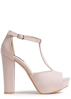04733de7e316bc Seventyseven Lifestyle Damen Schuh Sandalette Blockabsatz 12cm Kunstleder nude  rosa