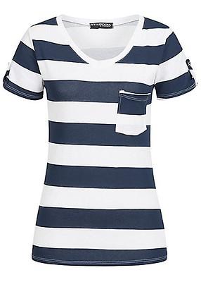 fd735f05ff1142 Styleboom Fashion Damen T-Shirt Deko Knöpfe fango braun - 77onlineshop