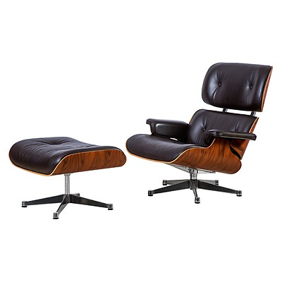 Tall Eames Lounge Chair U0026 Ottoman Black Leather Santos Palisander