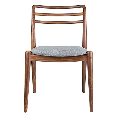 Tor Side Chair Walnut U0026 Grey Wool