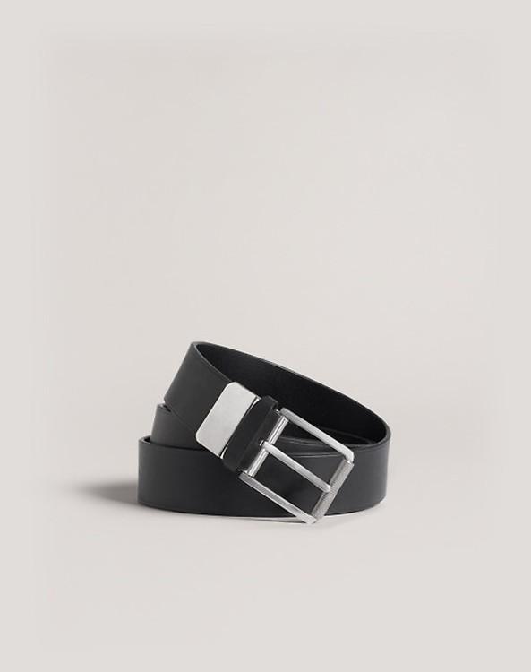 Men's Navy Reversible 35mm Roller Buckle Smooth Leather Belt