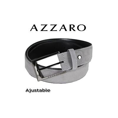 AZZARO - CEINTURE EN REFENTE DE CUIR DE VACHETTE BOUCLE ARDILLON - GRIS 494796a8cc3