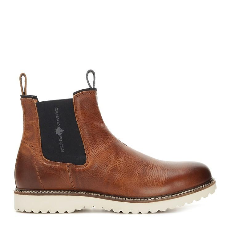 Canada Snow Williams Mens Cognac Bruna grova chelsea boots