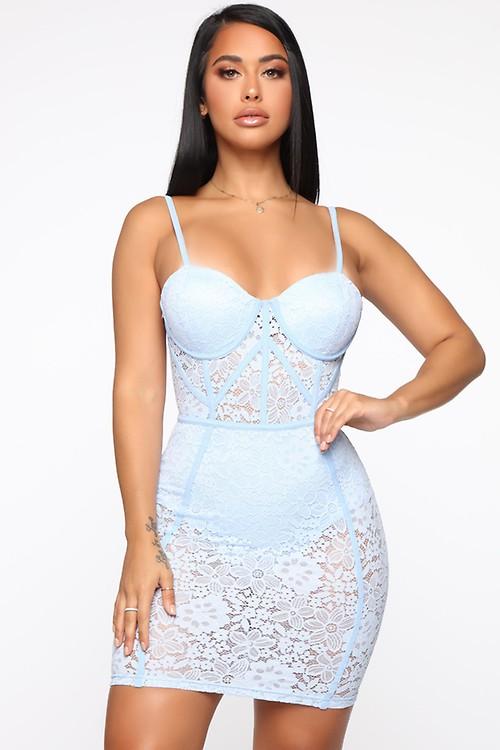 247a7617251a The Sky Is The Limit Lace Mini Dress - Light Blue