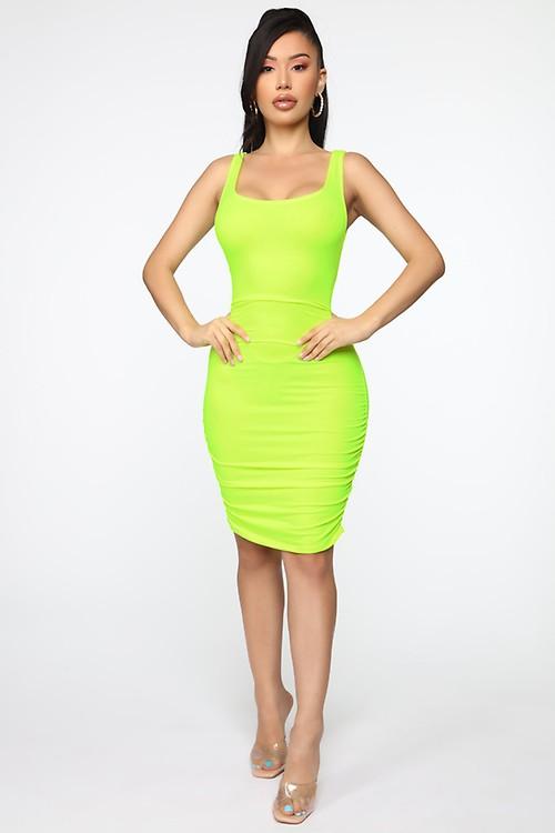 ddbe9429b53 Never Enough Ruched Mini Dress - Lime
