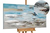 Acryl schilderen 'Surfen in de ochtendnevel' 140x70cm