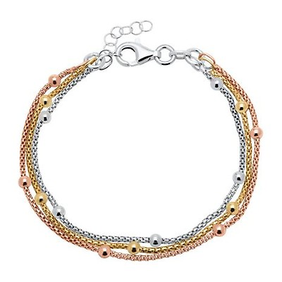 Armband 925er Silber tricolor