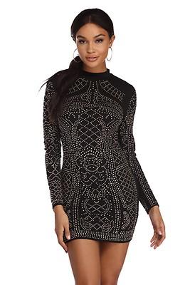 dc6a38718f9 Black Grab Attention Rhinestone Dress