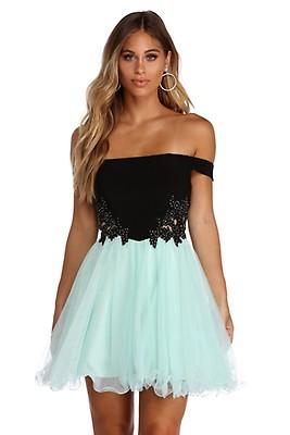 1642eba40182 Noelle Formal Satin Party Dress. $154.90 $99.00. CLEARANCE- Elena Floral  Applique Tulle Dress
