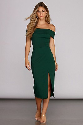 bb20aa4dd145 Kenzie Hunter Green Formal Lattice Midi Dress