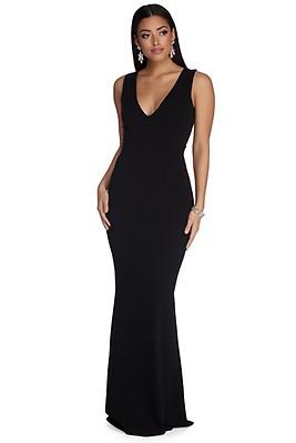 9014593bca FINAL SALE -Vienna Black Plunge Perfect Dress