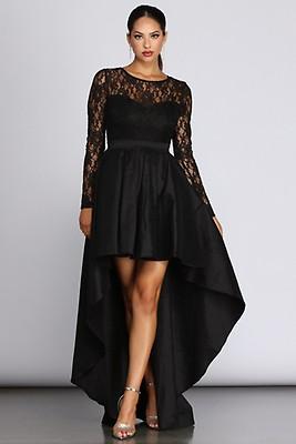 85c37f244a2 Whitney Black Formal High Low Taffeta Dress