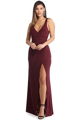 478ec0f114630 Seraphina Burgundy Formal Caged Back Dress
