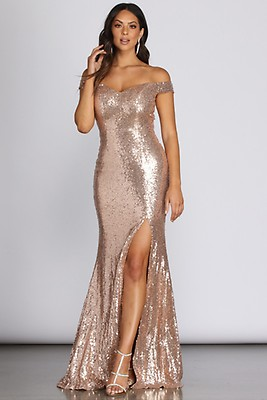 f06b59db38b3 Kristin Rose Gold Formal High Slit Sequin Dress