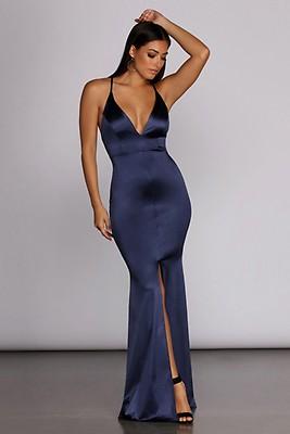 ead8ce787bb Vera Plum Satin Lace Up Formal Dress