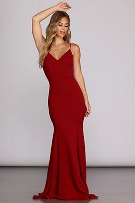 4a486549cf Lucia Burgundy Formal Lace Up Dress