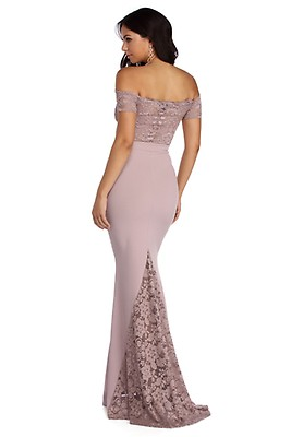 e6980efb7ef Larissa Mauve Off The Shoulder Formal Dress