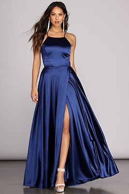3e2823b1e2 Gabrielle Formal High Slit Satin Dress