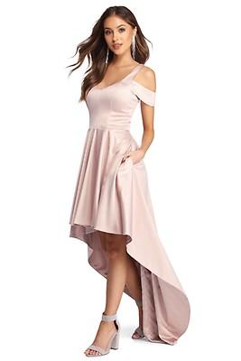 667771fd4f1 Roselyn Satin Sweetheart High-Low Dress