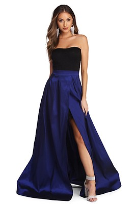 7cf8a34369ffb Elaina Black Formal High Slit Taffeta Dress