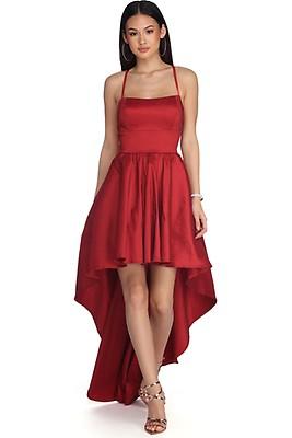 71652f87588 Tabatha Red High Low Crochet Dress