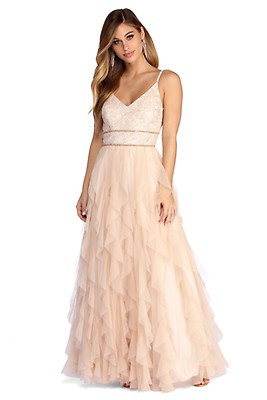 9547c62589a Penny Ombre Glitter Tendril Ball Gown