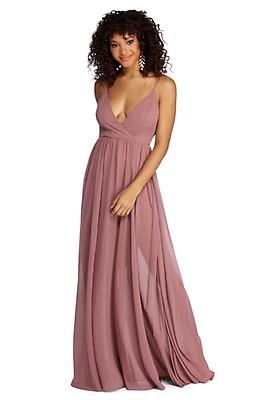43094e5c952 Marlowe Mauve Formal Long Pleated Dress