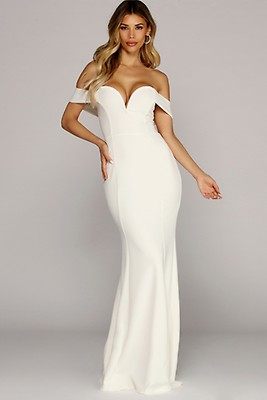 6edd53bcf0ea Brielle White Lace Plunging Midi Dress