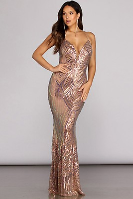 07050c536 Alana Rose Gold Formal Sequin Midi Dress