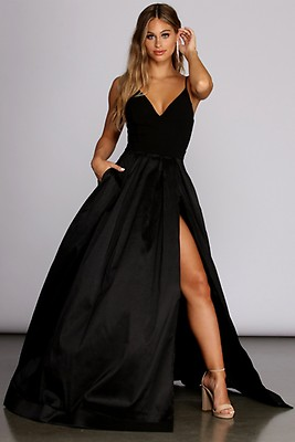36999121366 Paige Formal High Slit Taffeta Dress