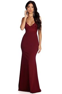 987f4ee6d2d52 Seraphina Burgundy Formal Caged Back Dress