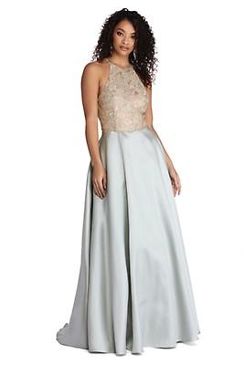 aa1866f2e16a Ryleigh Royal Floral Satin Ball Gown